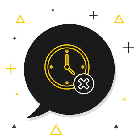 Line Clock delete icon isolated on white background. Time symbol. Colorful outline concept. Vector