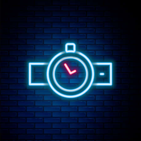 Glowing neon line Wrist watch icon isolated on brick wall background. Wristwatch icon. Colorful outline concept. Vector