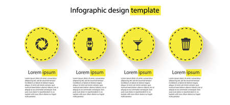Set Camera shutter, Smart watch heart beat rate, Martini glass and Trash can. Business infographic template. Vector