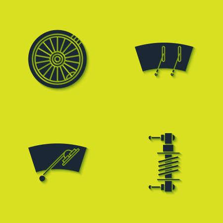 Set Car wheel, Shock absorber, Windscreen wiper icon. Vector