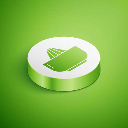 Isometric Citrus fruit juicer icon isolated on green background. White circle button. Vector