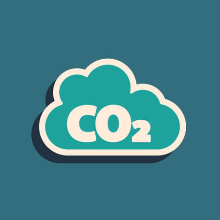 Green CO2 emissions in cloud icon isolated on green background. Carbon dioxide formula, smoke pollution concept, environment concept. Long shadow style. Vector