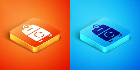 Isometric Donate or pay your zakat as muslim obligatory icon isolated on orange and blue background. Muslim charity or alms in ramadan kareem before eid al-fir. Vector