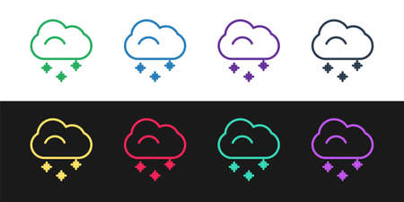 Set line Cloud with snow icon isolated on black and white background. Cloud with snowflakes. Single weather icon. Snowing sign. Vector Illustration