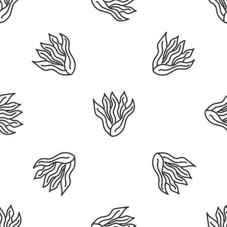Grey line Seaweed icon isolated seamless pattern on white background. Underwater seaweed spirulina, aquatic marine algae plant. Vegan and vegetarian food. Vector.
