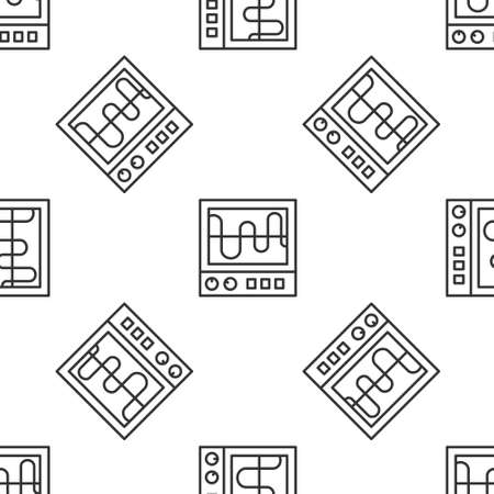 Grey line Oscilloscope measurement signal wave icon isolated seamless pattern on white background. Vector