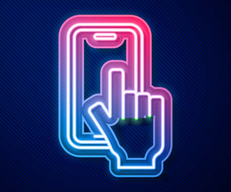 Glowing neon line Phone repair service icon isolated on blue background. Adjusting, service, setting, maintenance, repair, fixing. Vector