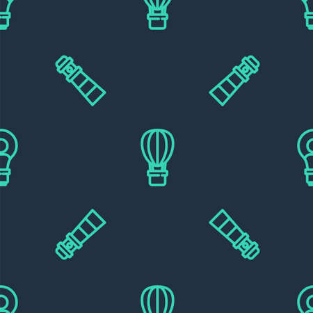 Set line Hot air balloon, Lighthouse and Head with lamp bulb on seamless pattern. Vector Vektoros illusztráció