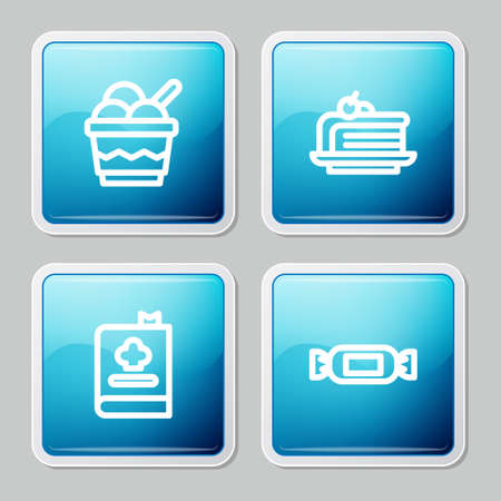 Set line Ice cream in bowl, Piece of cake, Cookbook and Candy icon. Vector