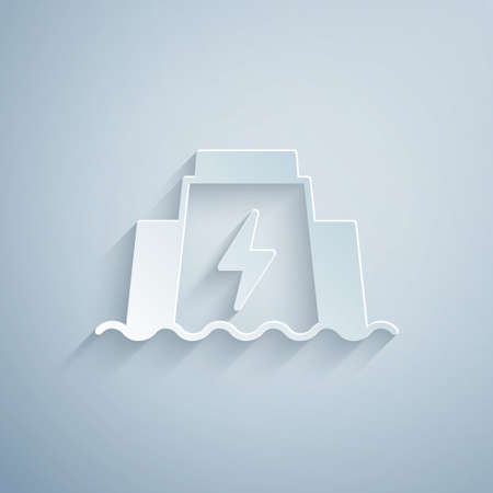 Paper cut Hydroelectric dam icon isolated on grey background. Water energy plant. Hydropower. Hydroelectricity. Paper art style. Vector