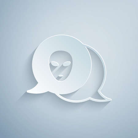Paper cut Alien icon isolated on grey background. Extraterrestrial alien face or head symbol. Paper art style. Vector