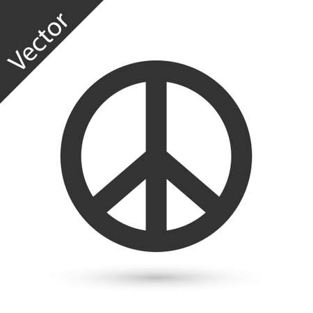 Grey Peace icon isolated on white background. Hippie symbol of peace. Vector Vettoriali