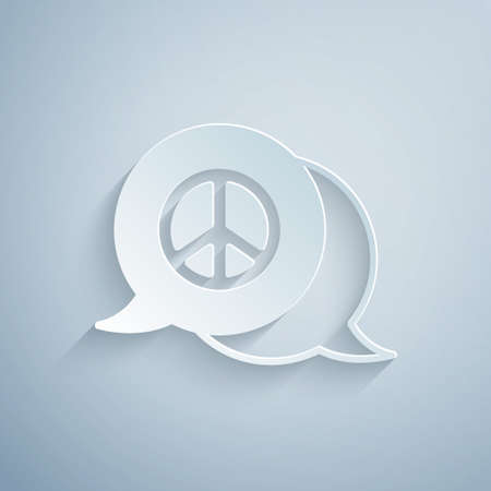 Paper cut Peace icon isolated on grey background. Hippie symbol of peace. Paper art style. Vector Vetores
