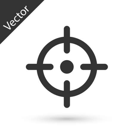 Grey Target sport icon isolated on white background. Clean target with numbers for shooting range or shooting. Vector
