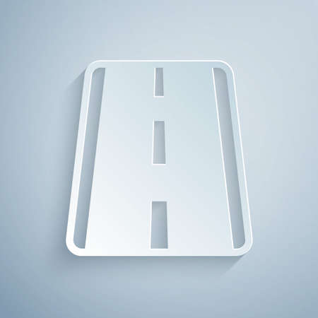 Paper cut Airport runway for taking off and landing aircrafts icon isolated on grey background. Paper art style. Vector