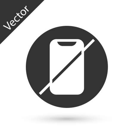Grey No cell phone icon isolated on white background. No talking and calling sign. Cell prohibition. Vector