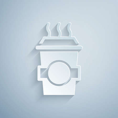 Paper cut Coffee cup to go icon isolated on grey background. Paper art style. Vector