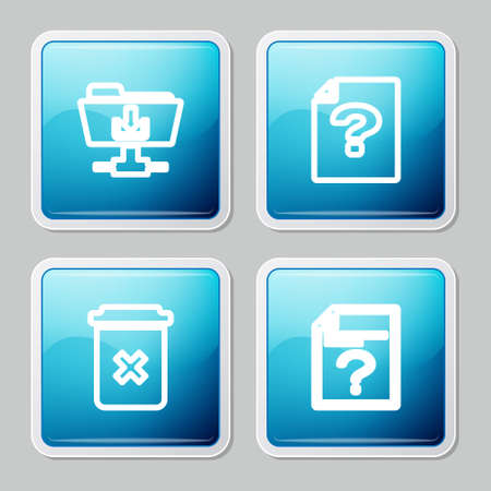 Set line FTP folder download, Unknown document, Trash can icon. Vector