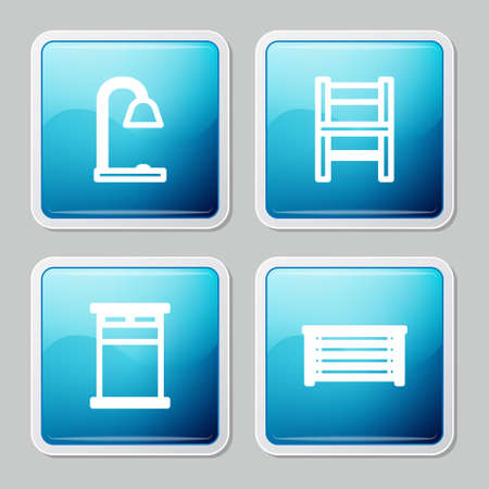 Set line Table lamp, Chair, Big bed and Chest of drawers icon. Vector