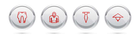 Set line Pants, Hoodie, Tie and Asian conical hat. Silver circle button. Vector