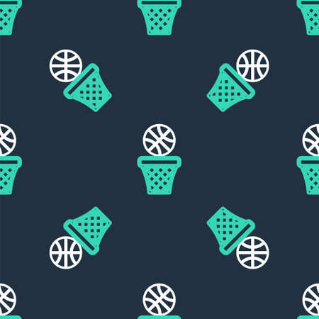 Line Basketball over sports winner podium icon isolated seamless pattern on black background. Vector