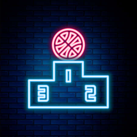 Glowing neon line Basketball players icon isolated on brick wall background. Colorful outline concept. Vector