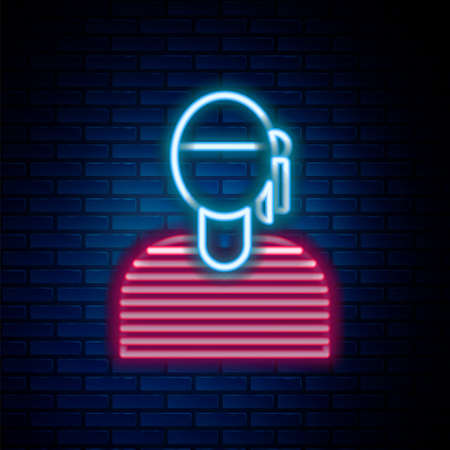 Glowing neon line Sailor captain icon isolated on brick wall background. Colorful outline concept. Vector