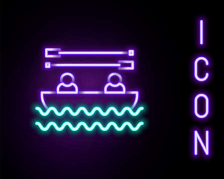Glowing neon line Boat with oars and people icon isolated on black background. Water sports, extreme sports, holiday, vacation, team building. Colorful outline concept. Vector