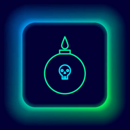 Glowing neon line Bomb ready to explode icon isolated on black background. Colorful outline concept. Vector Vectores