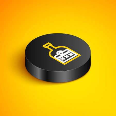 Isometric line Alcohol drink Rum bottle icon isolated on yellow background. Black circle button. Vector