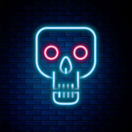 Glowing neon line Skull icon isolated on brick wall background. Happy Halloween party. Colorful outline concept. Vector