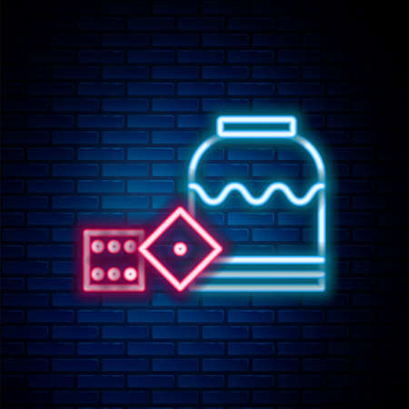Glowing neon line Pirate game dice icon isolated on brick wall background. Casino gambling. Colorful outline concept. Vector Vectores