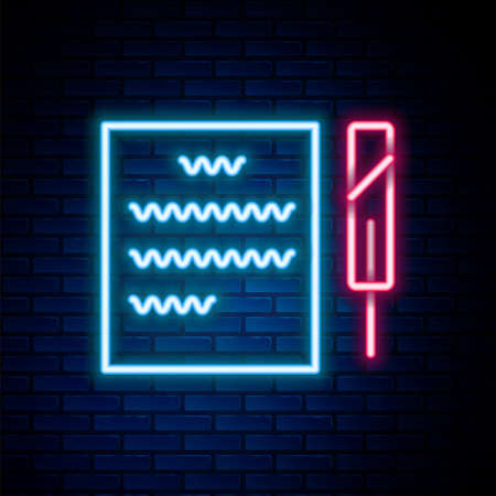 Glowing neon line Feather pen and paper scroll icon isolated on brick wall background. Colorful outline concept. Vector Vectores