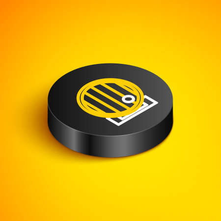 Isometric line Wooden barrel icon isolated on yellow background. Alcohol barrel, drink container, wooden keg for beer, whiskey, wine. Black circle button. Vector