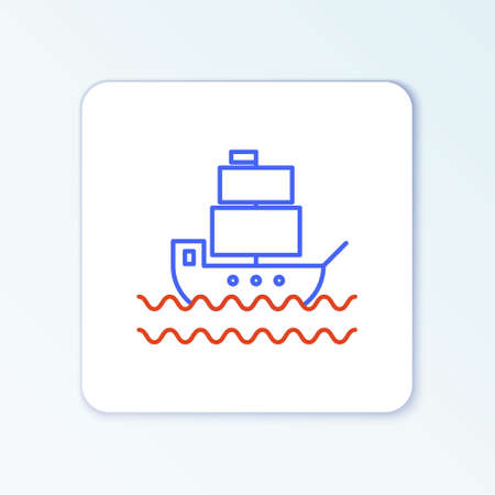 Line Ship icon isolated on white background. Colorful outline concept. Vector