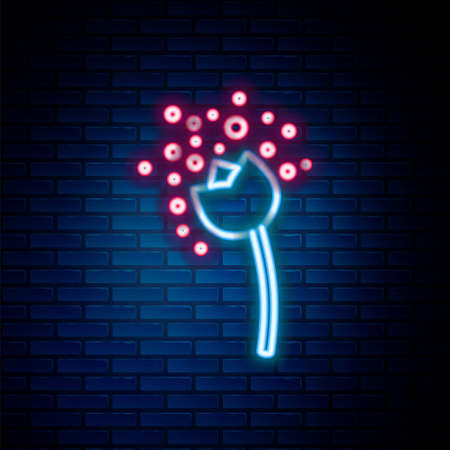 Glowing neon line Flower producing pollen in atmosphere icon isolated on brick wall background. Colorful outline concept. Vector Vectores