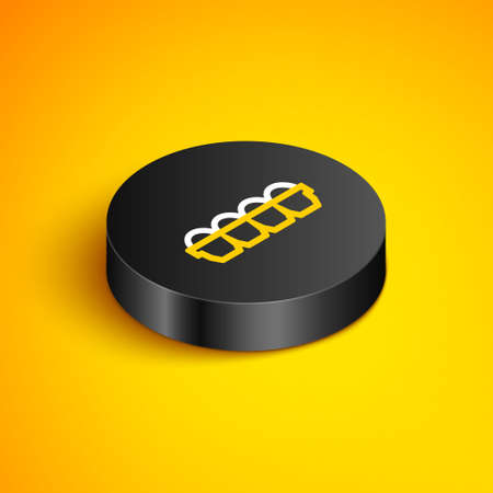 Isometric line Chicken egg in box icon isolated on yellow background. Black circle button. Vector Vectores