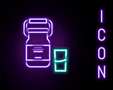 Glowing neon line Can container for milk and glass icon isolated on black background. Colorful outline concept. Vector Vectores