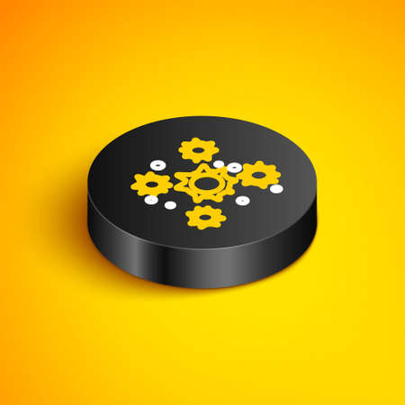 Isometric line Bacteria icon isolated on yellow background. Bacteria and germs, microorganism disease causing, cell cancer, microbe, virus, fungi. Black circle button. Vector Vectores