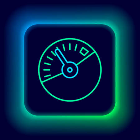 Glowing neon line Speedometer icon isolated on black background. Colorful outline concept. Vector