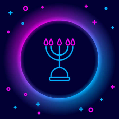 Glowing neon line Hanukkah menorah icon isolated on black background. Hanukkah traditional symbol. Holiday religion, jewish festival of Lights. Colorful outline concept. Vector