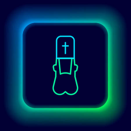 Glowing neon line Priest icon isolated on black background. Colorful outline concept. Vector 矢量图像