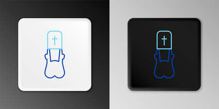 Line Priest icon isolated on grey background. Colorful outline concept. Vector