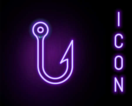 Glowing neon line Fishing hook icon isolated on black background. Fishing tackle. Colorful outline concept. Vector