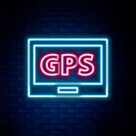 Glowing neon line Gps device with map icon isolated on brick wall background. Colorful outline concept. Vector Vectores