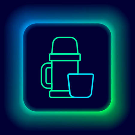 Glowing neon line bottle container and cup icon isolated on black background. Thermo flask icon. Camping and hiking equipment. Colorful outline concept. Vector