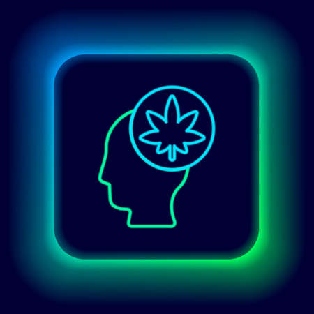 Glowing neon line Male head in profile with marijuana or cannabis leaf icon isolated on black background. Marijuana legalization. Hemp symbol. Colorful outline concept. Vector