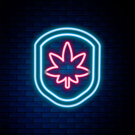 Glowing neon line Shield and marijuana or cannabis leaf icon isolated on brick wall background. Marijuana legalization. Hemp symbol. Colorful outline concept. Vector