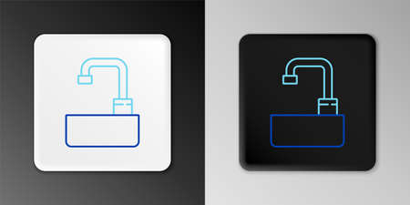 Line Washbasin with water tap icon isolated on grey background. Colorful outline concept. Vector 矢量图像