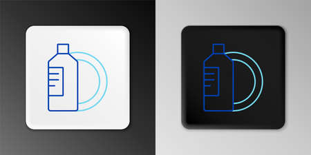 Line Dishwashing liquid bottle and plate icon isolated on grey background. Liquid detergent for washing dishes. Colorful outline concept. Vector 矢量图像